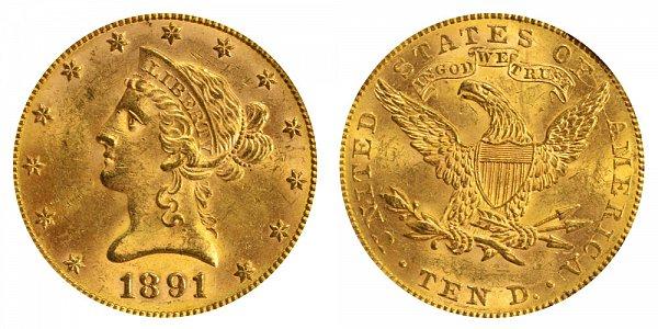 1891 Liberty Head $10 Gold Eagle - Ten Dollars