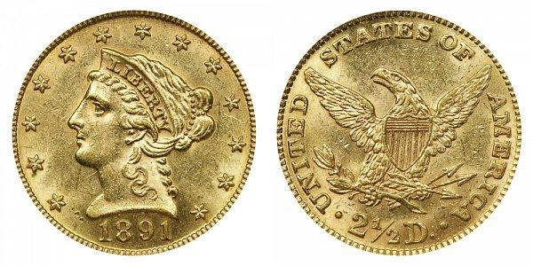 1891 Liberty Head $2.50 Gold Quarter Eagle - 2 1/2 Dollars