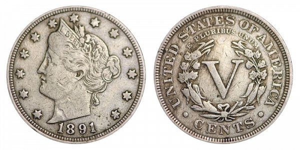 1891 Liberty Head V Nickel