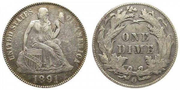1891 O Seated Liberty Dime