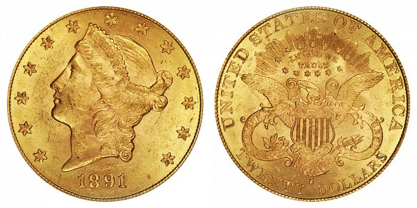 1891 S Liberty Head $20 Gold Double Eagle - Twenty Dollars