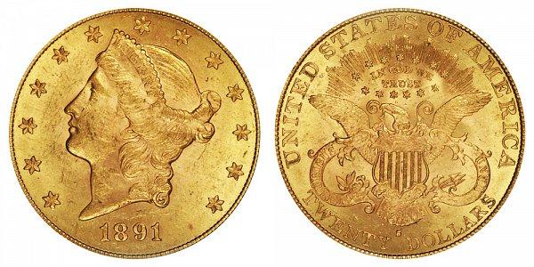 1891 S Liberty Head $20 Gold Double Eagle - Twenty Dollars