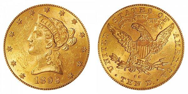 1892 CC Liberty Head $10 Gold Eagle - Ten Dollars