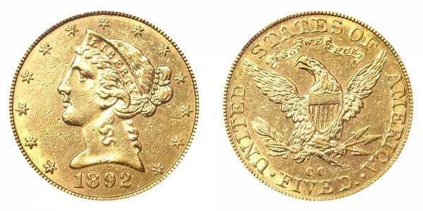 1892 CC Liberty Head $5 Gold Half Eagle - Five Dollars