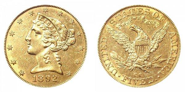 1892 CC Liberty Head $5 Gold Half Eagle - Five Dollars