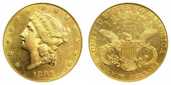1892 Liberty Head $20 Gold Double Eagle - Twenty Dollars