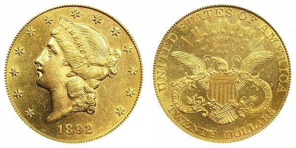 1892 Liberty Head $20 Gold Double Eagle - Twenty Dollars