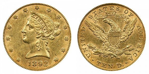 1892 Liberty Head $10 Gold Eagle - Ten Dollars
