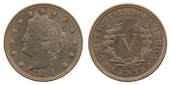 1892 Liberty Head V Nickel
