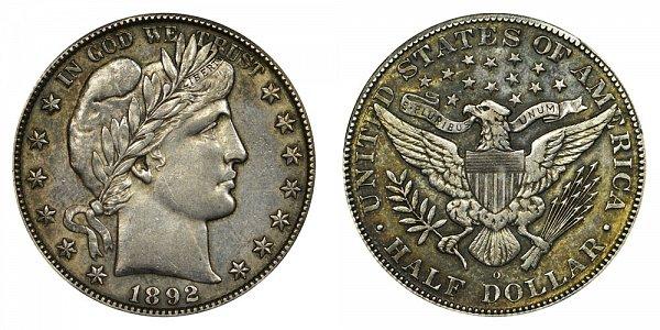 1892 O Barber Silver Half Dollar - Micro O
