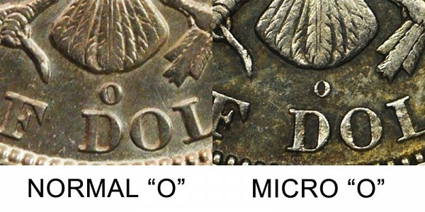 1892 Normal O vs Micro O Mint Mark Barber Half Dollar - Difference and Comparison