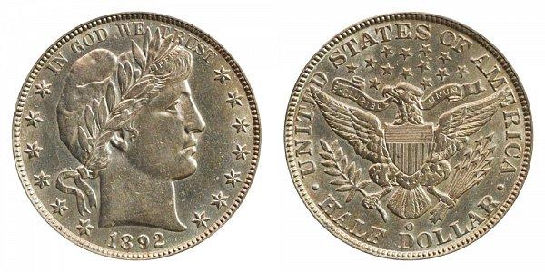 1892 O Barber Silver Half Dollar