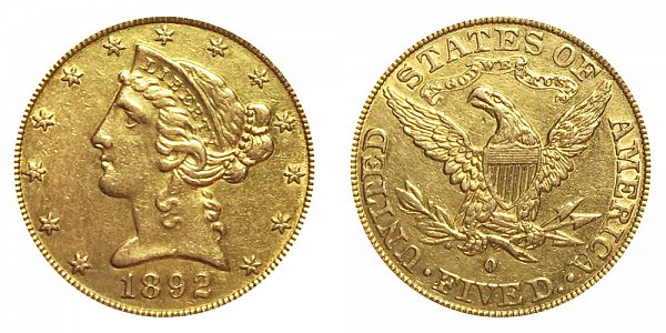 1892 O Liberty Head $5 Gold Half Eagle - Five Dollars