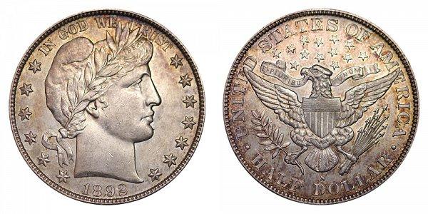 1892 S Barber Silver Half Dollar