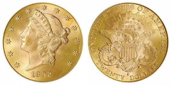 1892 S Liberty Head $20 Gold Double Eagle - Twenty Dollars