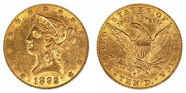 1892 S Liberty Head $10 Gold Eagle - Ten Dollars