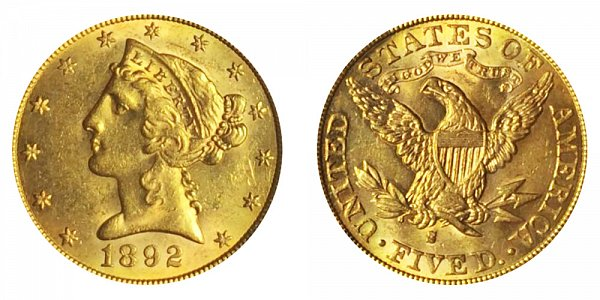 1892 S Liberty Head $5 Gold Half Eagle - Five Dollars