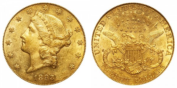 1893 CC Liberty Head $20 Gold Double Eagle - Twenty Dollars