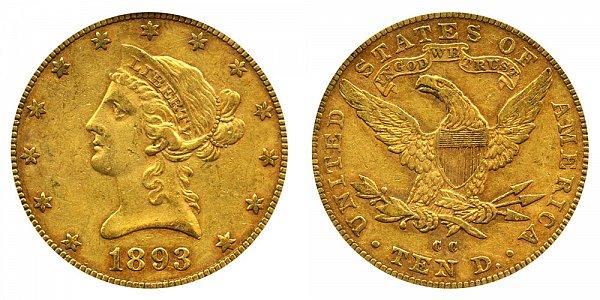 1893 CC Liberty Head $10 Gold Eagle - Ten Dollars