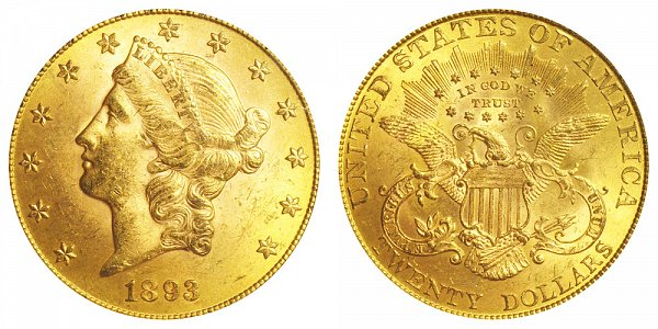 1893 Liberty Head $20 Gold Double Eagle - Twenty Dollars