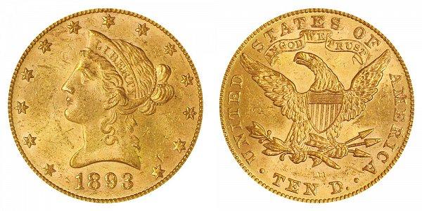 1893 Liberty Head $10 Gold Eagle - Ten Dollars