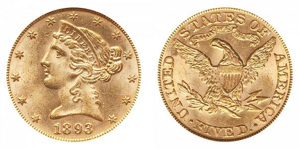 1893 Liberty Head $5 Gold Half Eagle - Five Dollars
