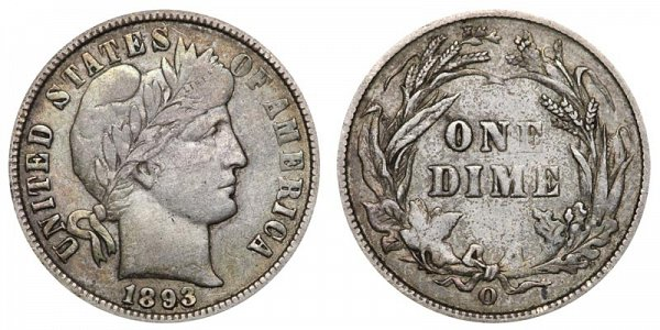 1893 O Silver Barber Dime