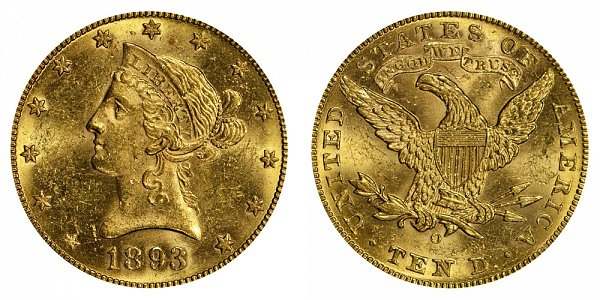 1893 O Liberty Head $10 Gold Eagle - Ten Dollars