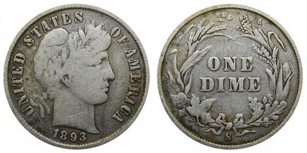 1893 S Silver Barber Dime