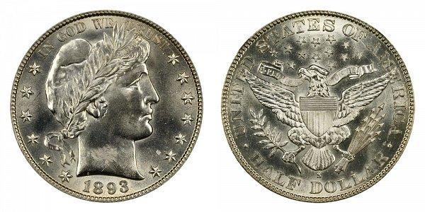 1893 S Barber Silver Half Dollar