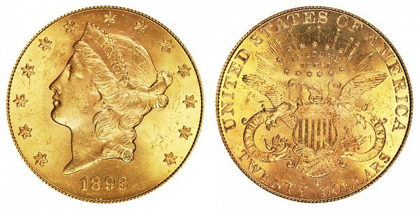 1893 S Liberty Head $20 Gold Double Eagle - Twenty Dollars