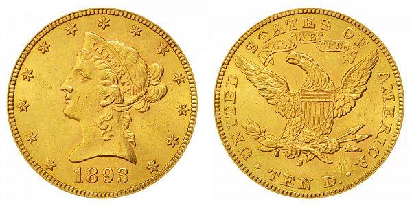 1893 S Liberty Head $10 Gold Eagle - Ten Dollars