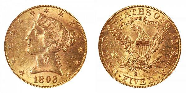 1893 S Liberty Head $5 Gold Half Eagle - Five Dollars