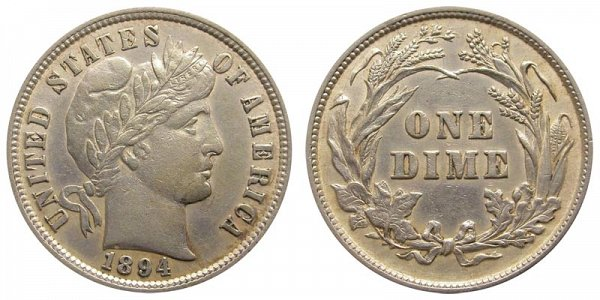 1894 Silver Barber Dime