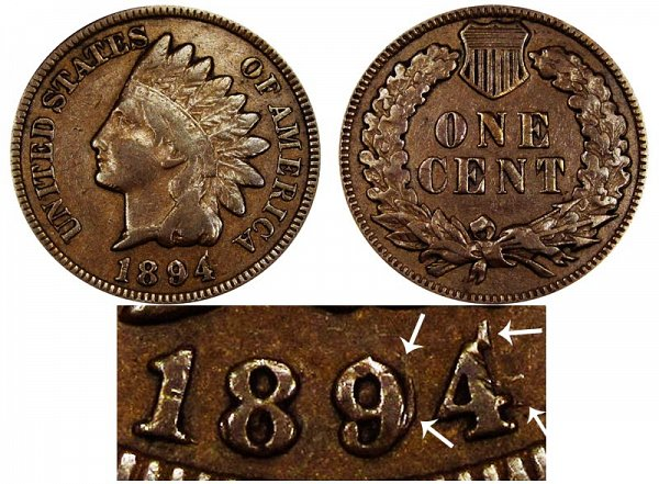 1894 Doubled Date RPD Indian Head Cent Penny