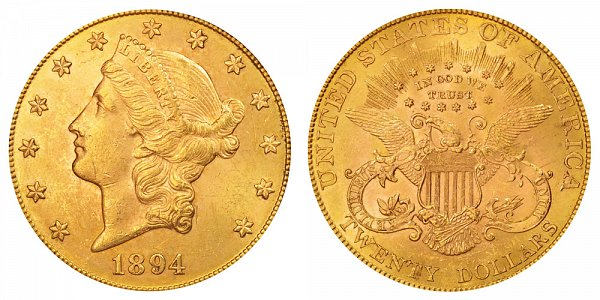 1894 Liberty Head $20 Gold Double Eagle - Twenty Dollars