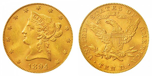 1894 Liberty Head $10 Gold Eagle - Ten Dollars