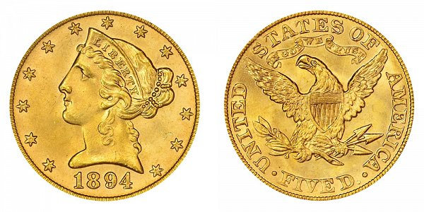 1894 Liberty Head $5 Gold Half Eagle - Five Dollars