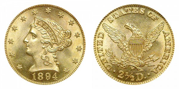 1894 Liberty Head $2.50 Gold Quarter Eagle - 2 1/2 Dollars