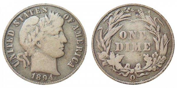 1894 O Silver Barber Dime