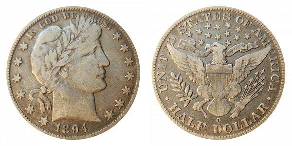 1894 O Barber Silver Half Dollar