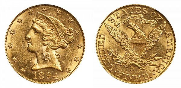 1894 O Liberty Head $5 Gold Half Eagle - Five Dollars