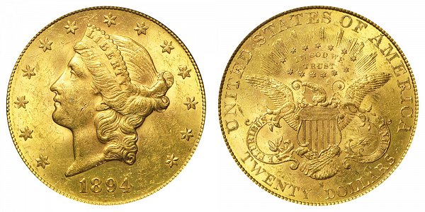 1894 S Liberty Head $20 Gold Double Eagle - Twenty Dollars