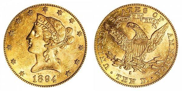 1894 S Liberty Head $10 Gold Eagle - Ten Dollars