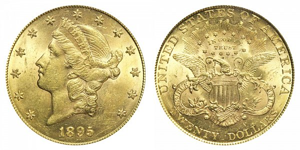 1895 Liberty Head $20 Gold Double Eagle - Twenty Dollars
