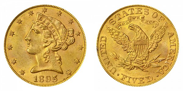 1895 Liberty Head $5 Gold Half Eagle - Five Dollars