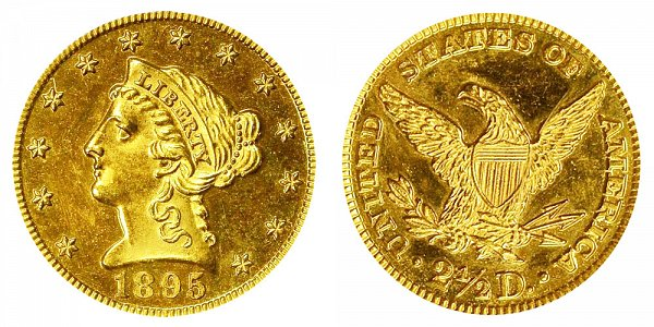 1895 Liberty Head $2.50 Gold Quarter Eagle - 2 1/2 Dollars