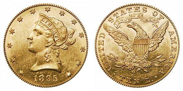1895 O Liberty Head $10 Gold Eagle - Ten Dollars