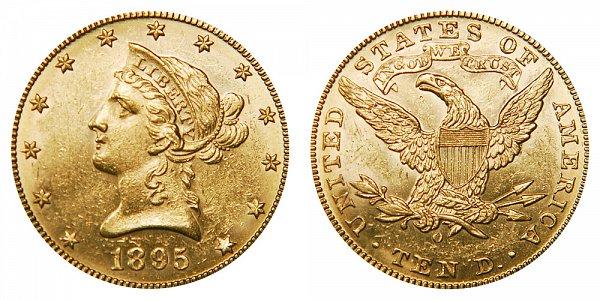 1895 O Liberty Head $10 Gold Eagle - Ten Dollars