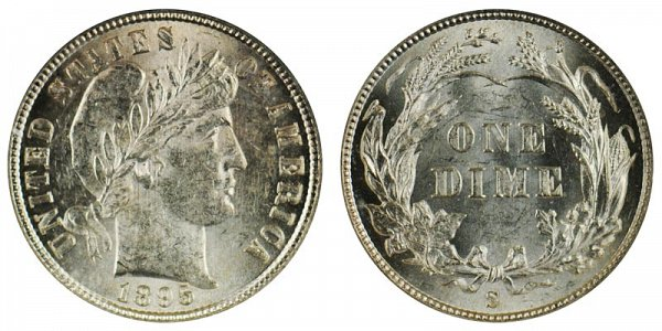 1895 S Silver Barber Dime